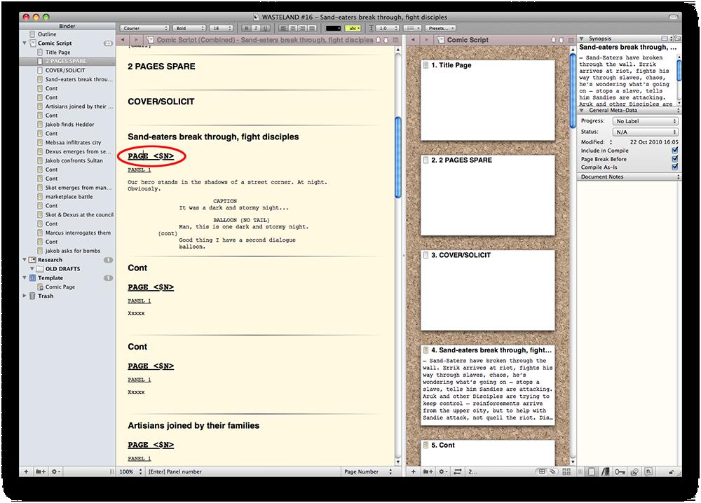 Comic book script format template